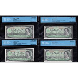 Bank of Canada $1, 1967 - Lot of 4 Consecutive