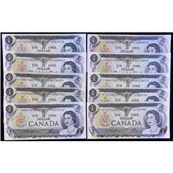 Bank of Canada $1, 1973 - Replacement Notes Lot of 10