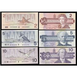 Bank of Canada $2, 1986 to 1988 $100 Bird Serie Set; Thiessen-Crow Signatures