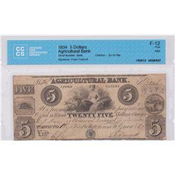 Agricultural Bank $5, 1834