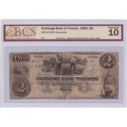 Exchange Bank of Toronto $2, 1855
