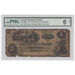 Mechanics Bank $5, 1872