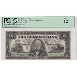 Molsons Bank, $5 1912
