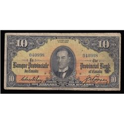 Provincial Bank of Canada $10, 1936
