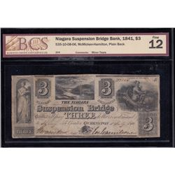 Niagara Suspension Bridge Bank $3, 1841