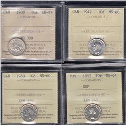 Canada ICCS-graded Ten Cents Lot of 4