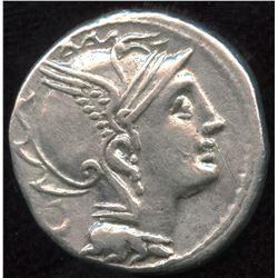 Roman Republic Appius Claudius Pulcher, T. Manlius Mancinus and Q. Urbinus, Denarius, c110 BC