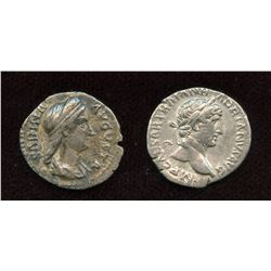 Hadrian (117-138 AD) & wife Sabina. AR Denarius - Lot of 2