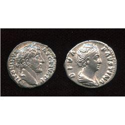 Antoninus Pius (138-161 AD) & wife Faustina Sr. AR Denarius Lot of 2