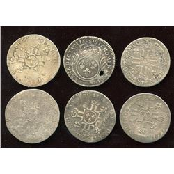 Lot of 6 French 1/12 Ecu,