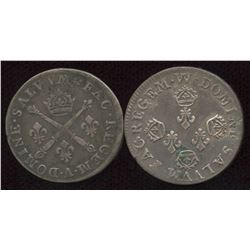 Lot of 2 French 10 sols.