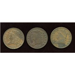 1828 USA Half Cents - Lot of 3