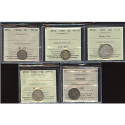 Newfoundland - Lot of 5 ICCS Graded Coins