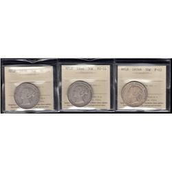 Newfoundland 1874, 1876H, 1888 50 Cents