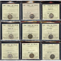 Lot of 17 ICCS Graded Five Cents