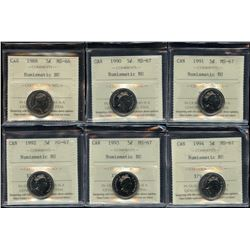 Lot of 6 ICCS Graded Five Cents