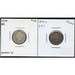 1870 & 1874H Ten Cents