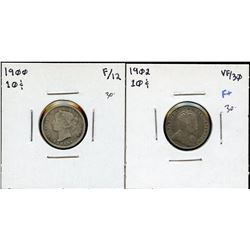 1900 & 1902 Ten Cents - Lot of 2
