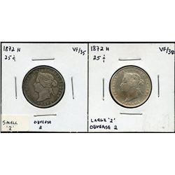 1872H Twenty-Five Cents - Lot of 2