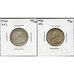 1934 & 1935 Twenty-Five Cents