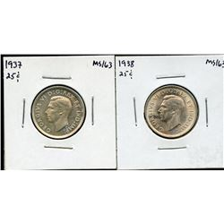 1937 & 1938 Twenty-Five Cents