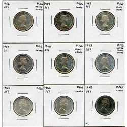 Twenty-Five Cents Proof Like Lot of 9