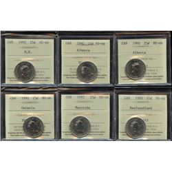 1992 Commemorative Twenty-Five Cents - Lot of 6 ICCS Graded