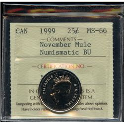 1999 November Twenty-Five Cents Mule