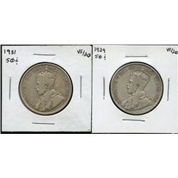 1929 & 1931 Fifty Cents