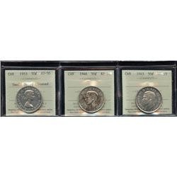 Fifty Cents ICCS Graded - Lot of 3