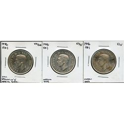 1946 Fifty Cents - Lot of 3