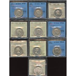 Lot of 10 Graded Fifty Cents