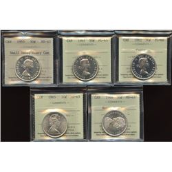Lot of 5 ICCS Graded Fifty Cents