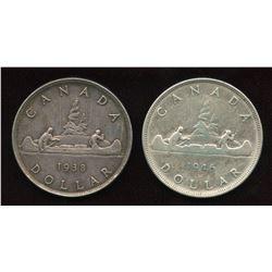 1938 & 1946 Silver Dollar Pair