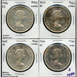 1956, 1957, 1958 & 1959 PL Silver Dollars