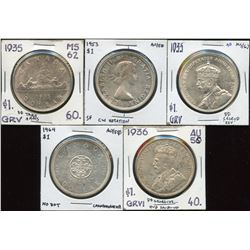 Lot of 5 Silver Dollars with minor varieties