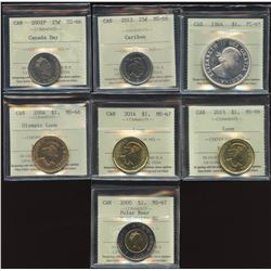 Lot of 7 ICCS Graded Coins