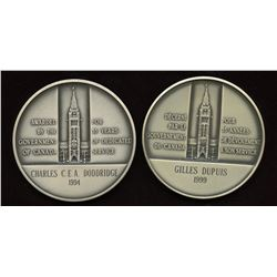 2 x Canada Long & Efficient Service Sterling Silver Medals - Named