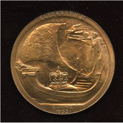 QUEEN ELIZABETH II VIKING SHIP CORONATION MEDAL COIN JUNE 2,1953