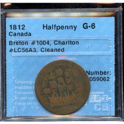 BR 1004. Scarce copper ½ penny, 1812