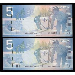 Rare Matching Number Consecutive Set - Bank of Canada $5, 2006 & 2008 Matched Number Radar Set -