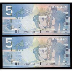 Rare Matching Number Consecutive Set - Bank of Canada $5, 2006 & 2008 Matched Number Radar Set