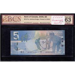Bank of Canada $5, 2006 Mismatch Prefix