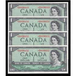 Bank of Canada $1, 1954 Lot of 4 Consecutive Replacements