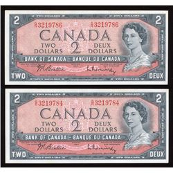 Bank of Canada $2, 1954 - Lot of 2