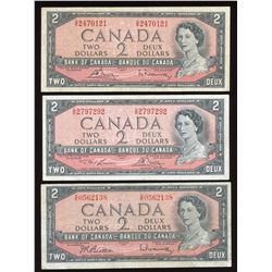 Bank of Canada $2, 1954 Trio of Test Notes