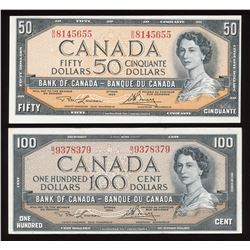 Bank of Canada $50 & $100, 1954