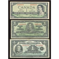 Bank of Canada $1 Banknotes - Lot of 7