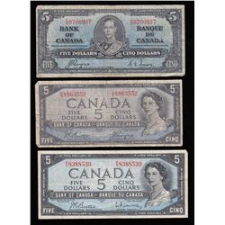 Bank of Canada $5 Banknotes - Lot of 7
