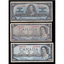 Bank of Canada $5 Banknotes - Lot of 7